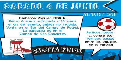 Cartell Festa fi temporada CCE San Lluís