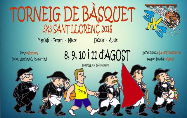 CARTELL 3X3 de Bàsquet Sant Llorenç