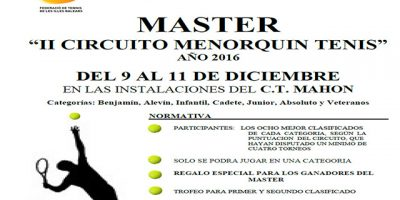 Cartel Máster II Circuito Menorquín Tenis