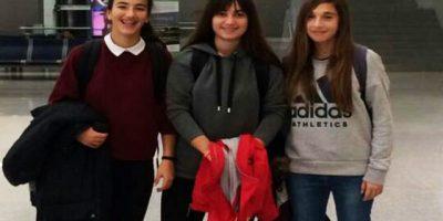 Lorena, Paula y Elisabeth con la seleccion Balear