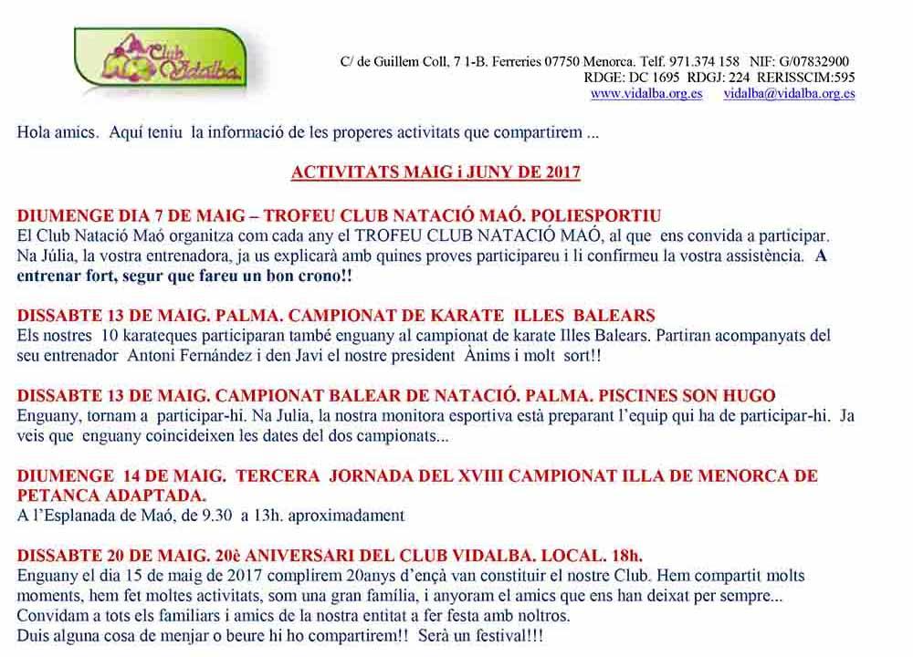 ACTIVITATS Club Vidalba MAIG i juny