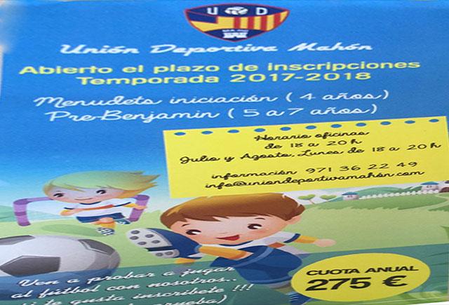 Cartel Escuela UD mahón