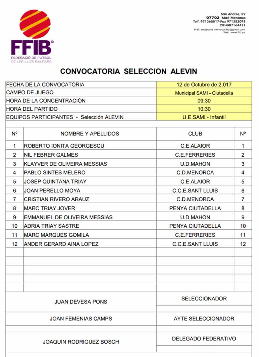 CONVOCATÒRIA SELECCIÓ ALEVI 171012