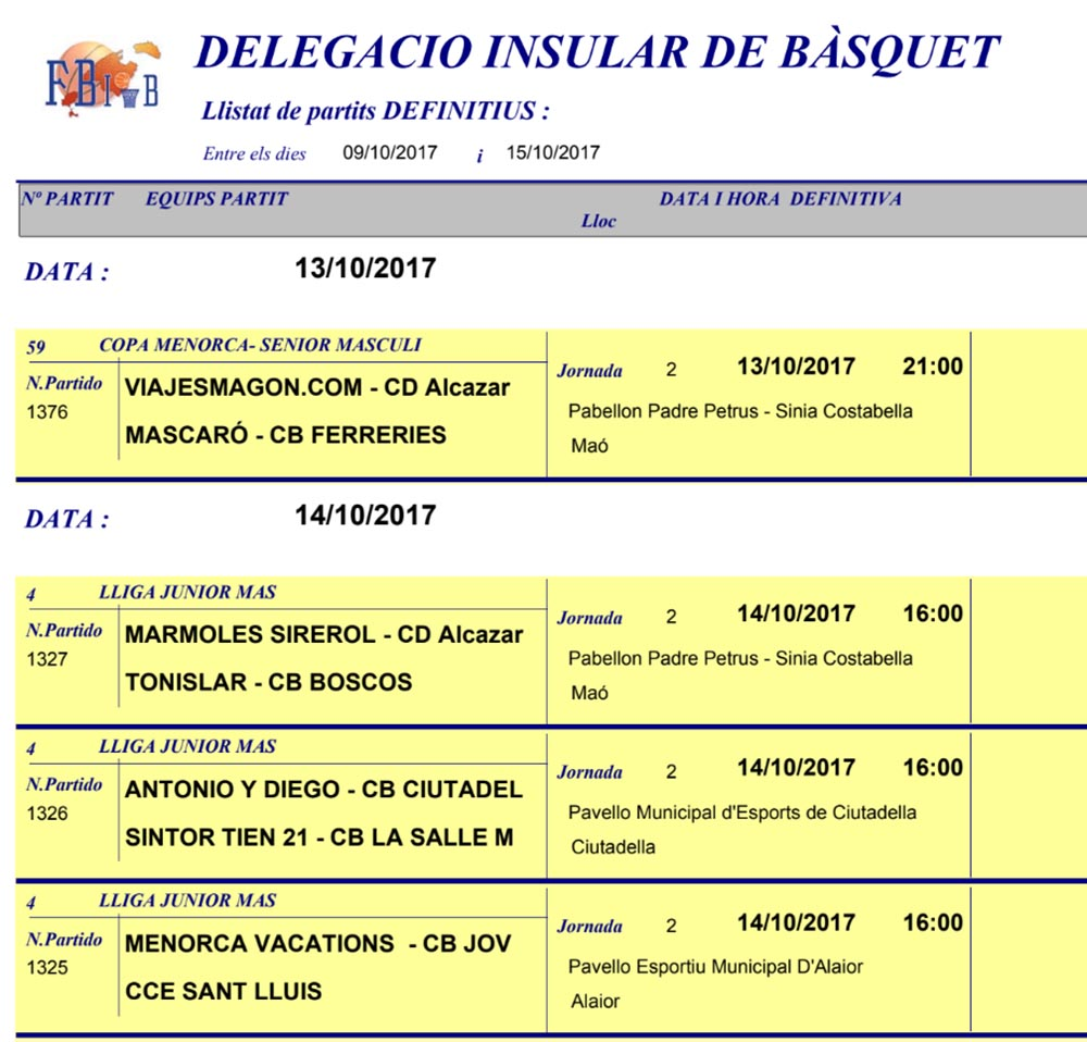Horaris Basquet de Menorca