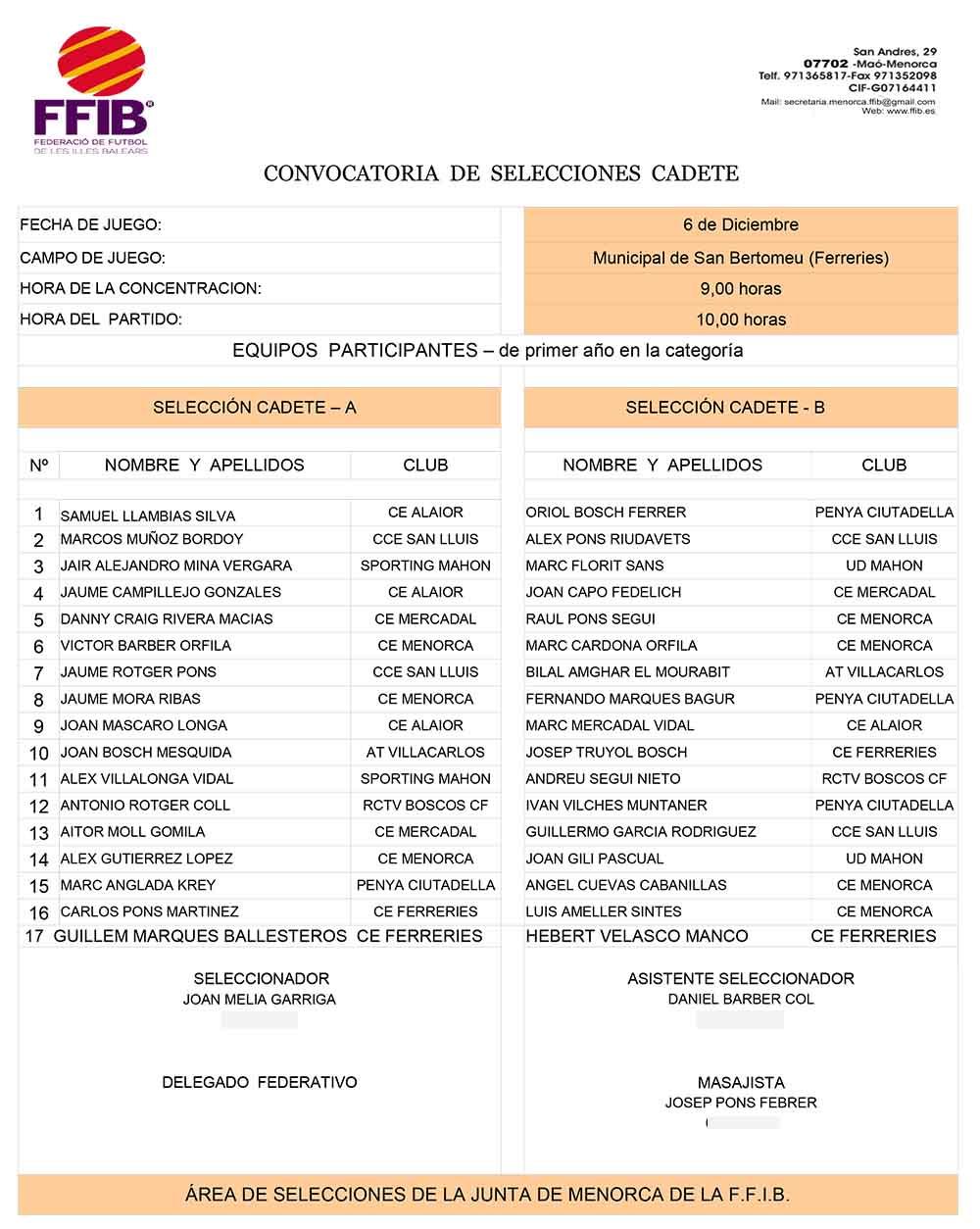 CONVOCATÒRIA SELECCIÓ CADETE 171206