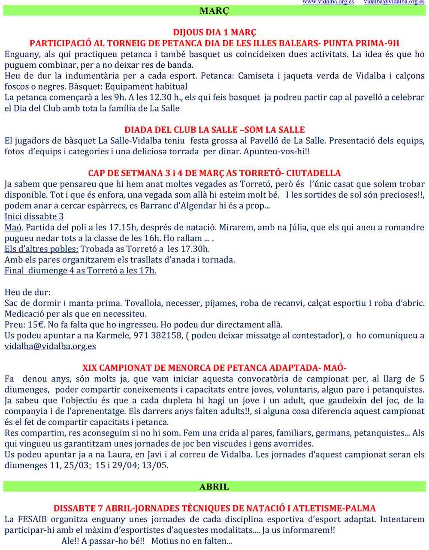 Activitats des Club Vidalba