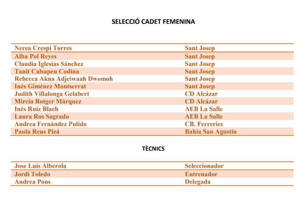 seleccions cadets fem basquet IB- Campionat d'Espanya