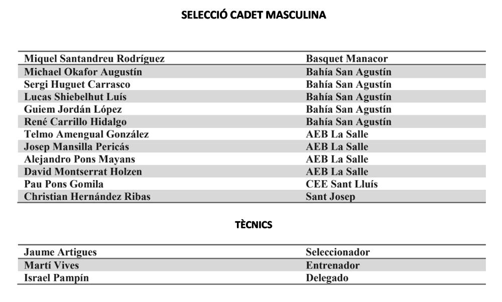 seleccions cadets masc basquet IB- Campionat d'Espanya
