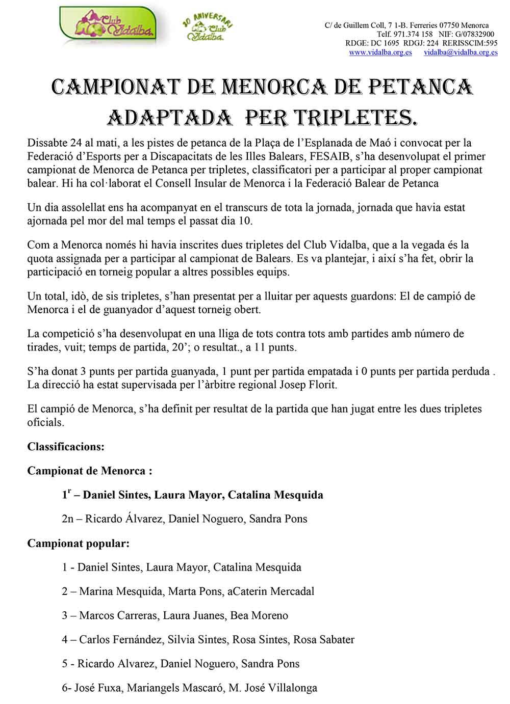 Campionat de Menorca de Petanca Adaptada per tripletes