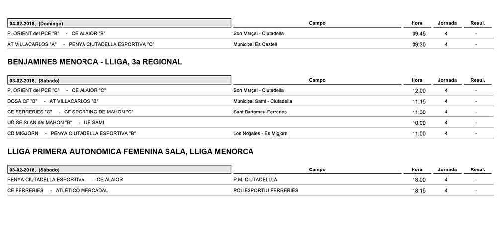 Horaris futbol de Menorca
