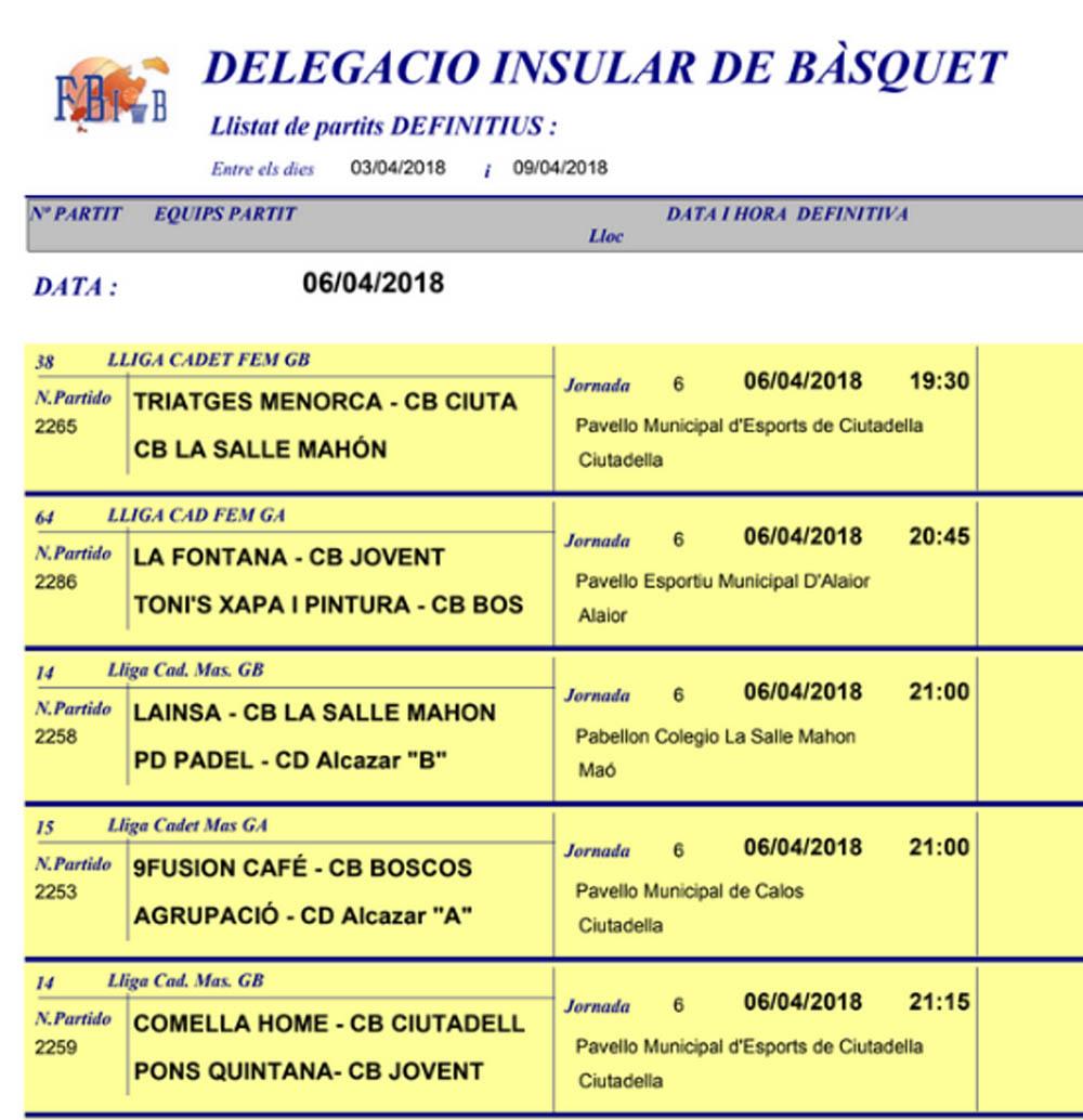 Horaris bàsquet Menorca