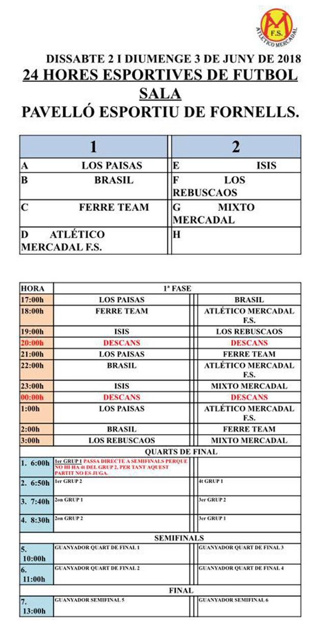 Calendario 24 h Futbol Sala