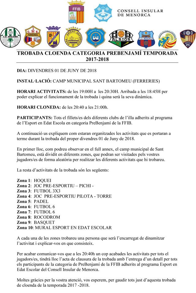TROBADA CLOENDA CATEGORIA PREBENJAMÍ TEMPORADA 2017 - 2018