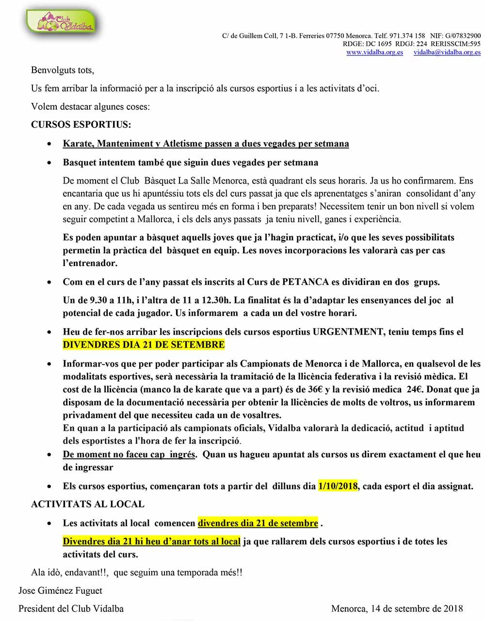 Vidalba cusos esportius 2018-19