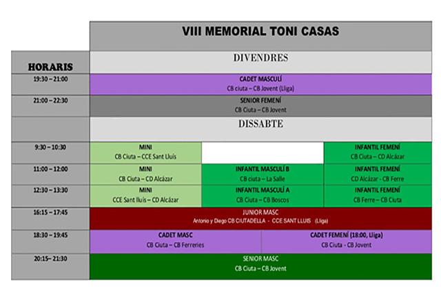 Horari Memorial Toni Casas 2018