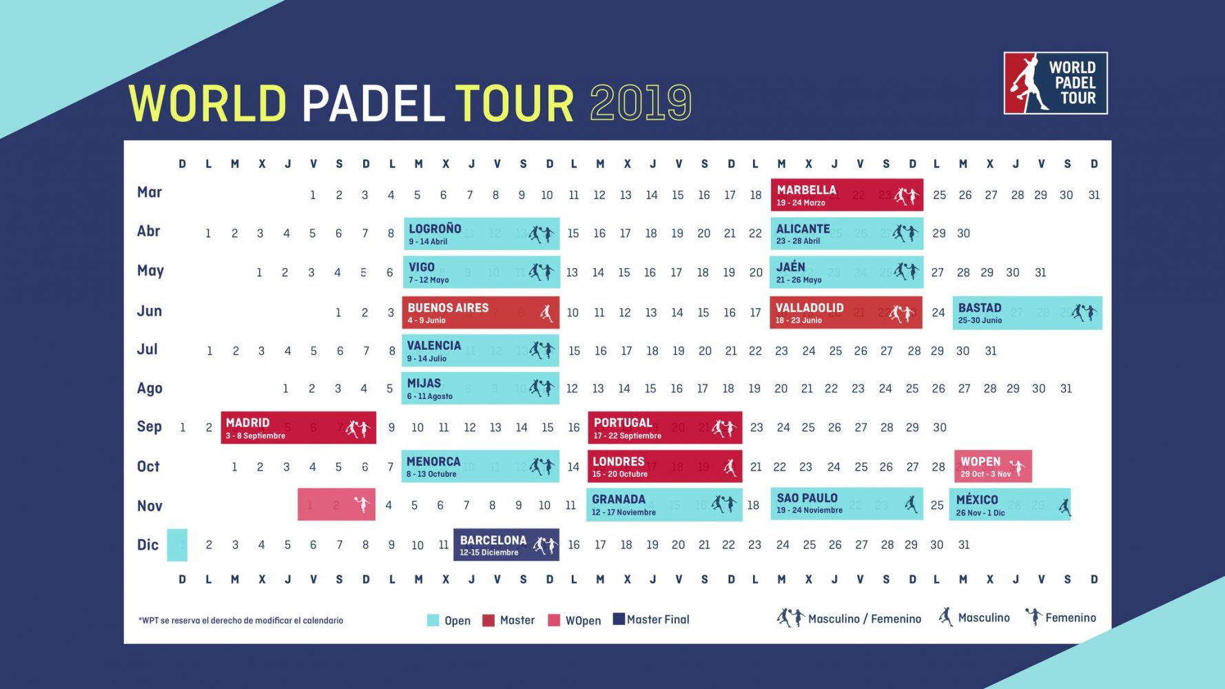 Calendario World Padel Tour 2019