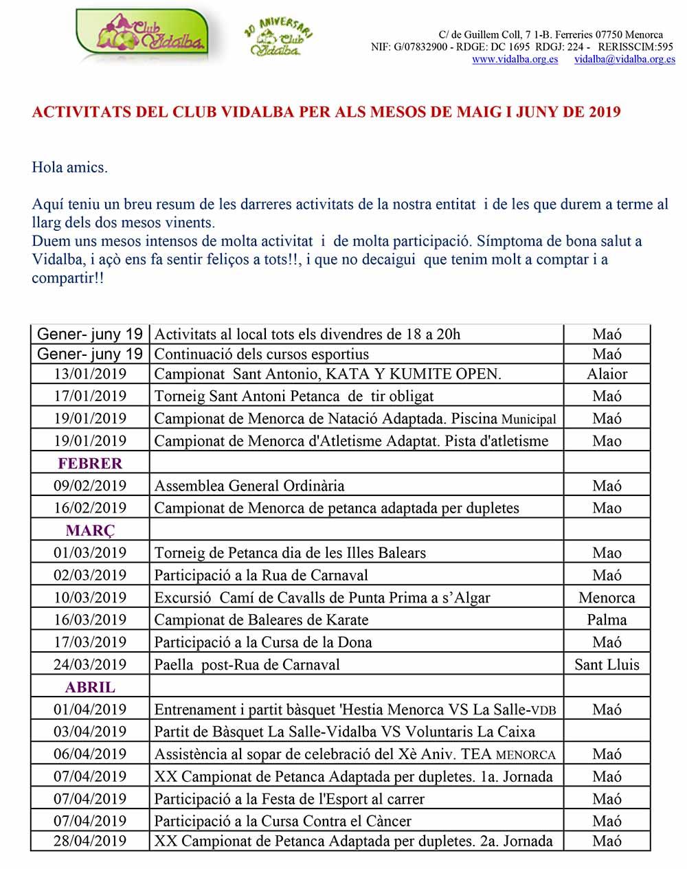 ACTIVITATS VDB MAIG I JUNY