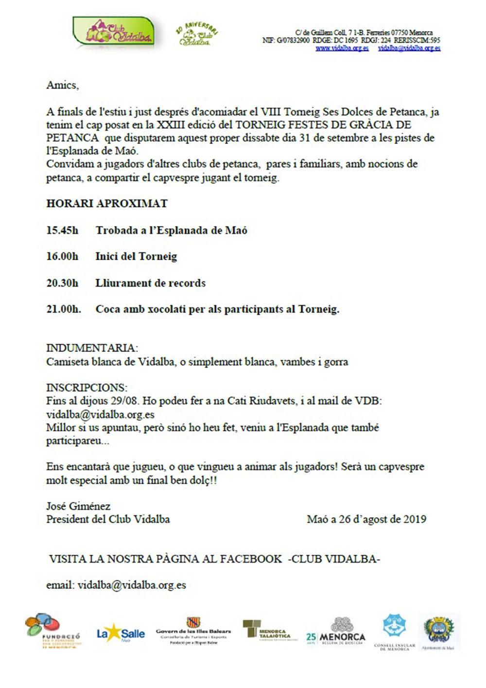 PETANCA -XXIII TORNEIG DE FESTES DE GRÀCIA