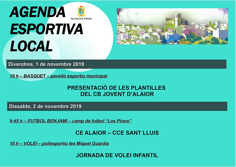 AGENDA ESPORTIVA LOCAL NOVEMBRE 2019