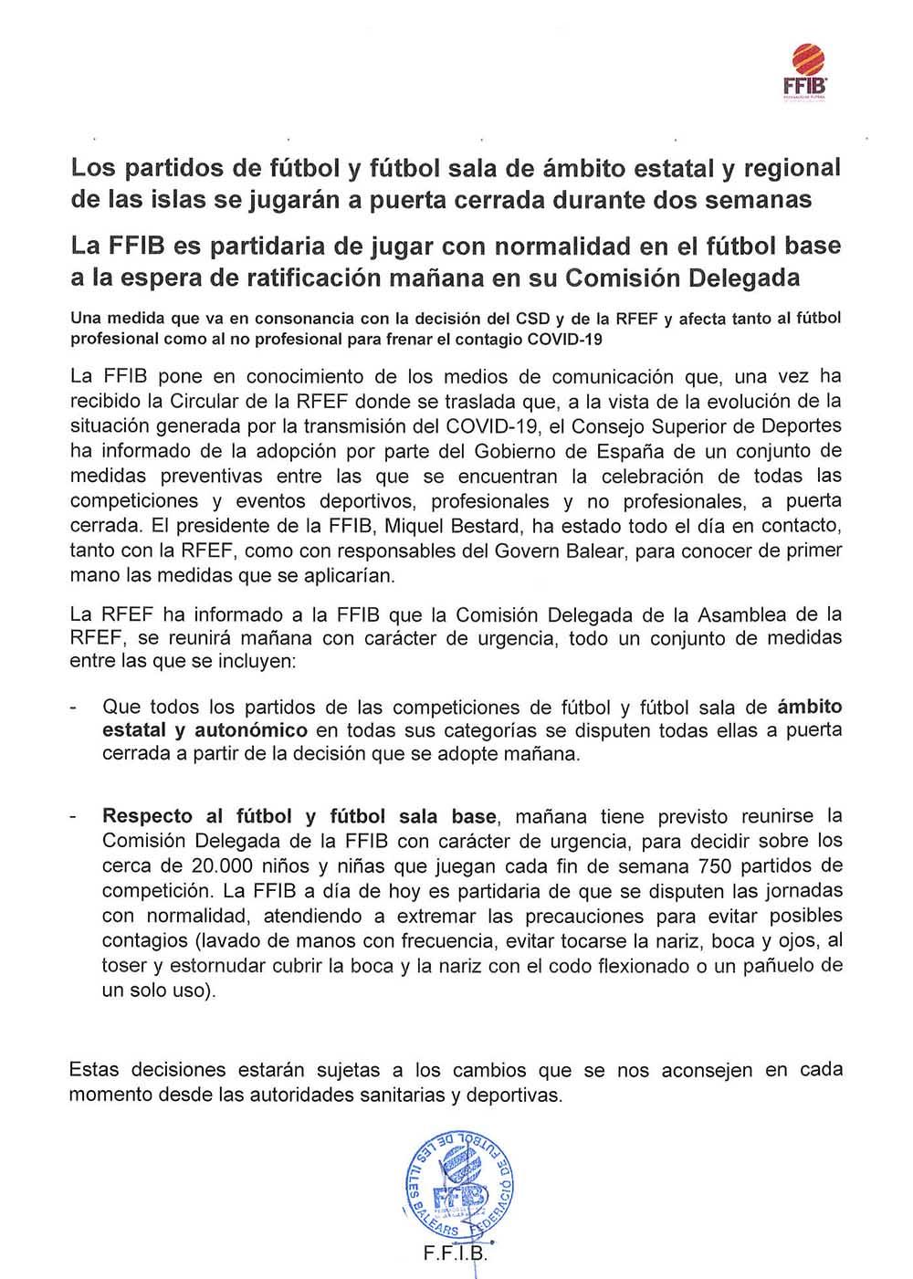 Comunicat de la FFIB_COVID-19 200310