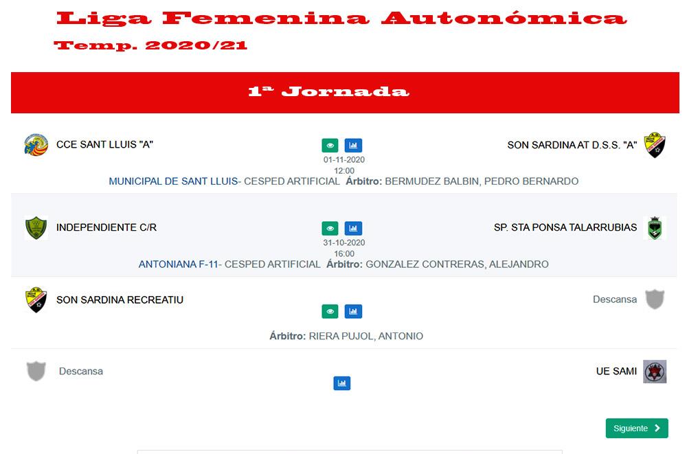 Horaris futbol Liga femení Autonómica