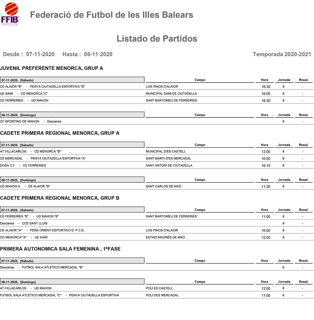 Horarios Futbol Menorca