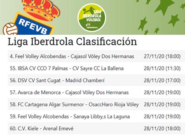Horarios Superliga Iberdrola con cabecera