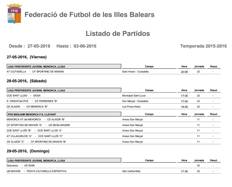 Horaris futbol Menorca