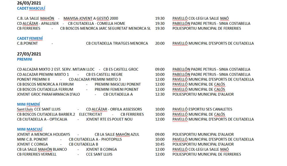 Horarios Bàsquet Menorca